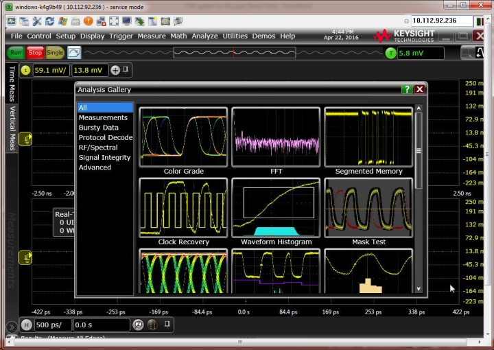 Keysight analysis gallery shows all the available measurements