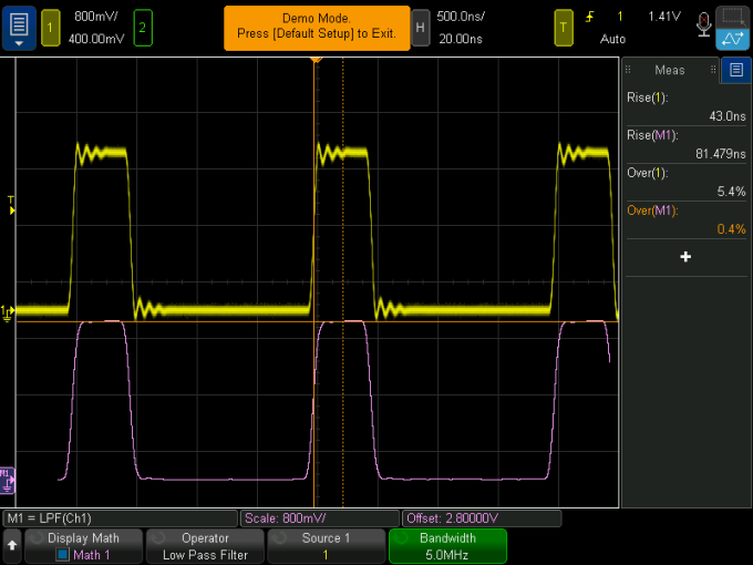 simulated output of a signal through a 5 MHz low pass filter on a Keysight oscilloscope