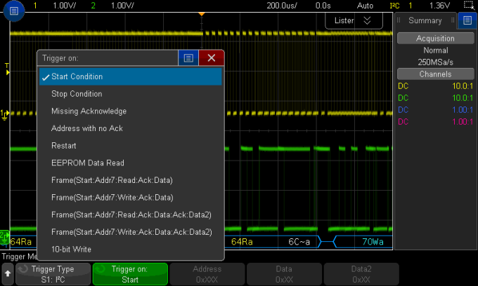 Keysight oscilloscope trigger capabilities for I2C