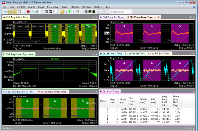 Keysight pulse analysis software calculations