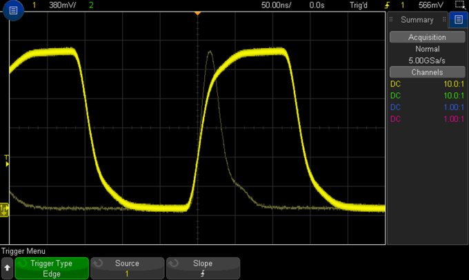Pulses captured using a basic edge trigger on a Keysight oscilloscope