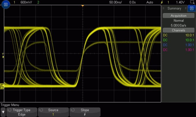 complex, multi-level signal, shown on a Keysight oscilloscope