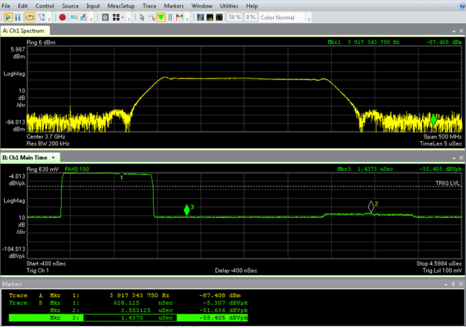 down pulse seen with Keysight VSA software