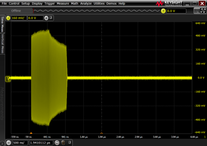 8-GHz bandwidth oscilloscope capture of +6 dBm pulse next to a 50 dB down pulse